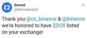 DCR Tweet