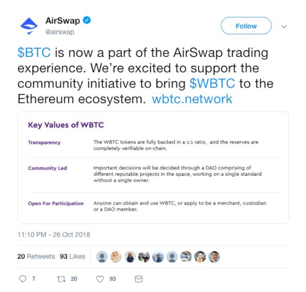 Airswap Tweet