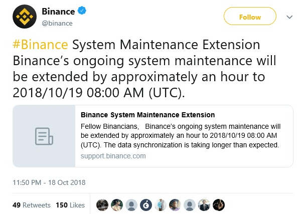 Binance Tweet