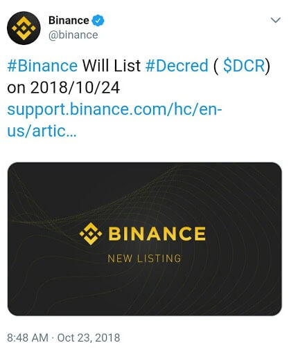 Binance DCR Tweet