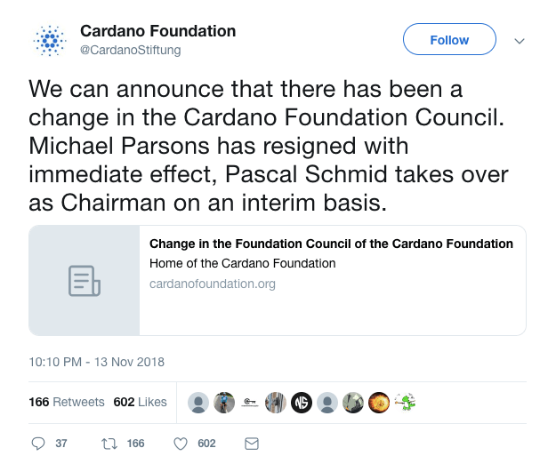 Cardano Foundation Tweet