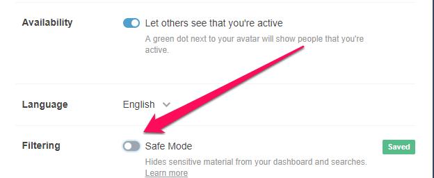 Disable tumblr safe mode