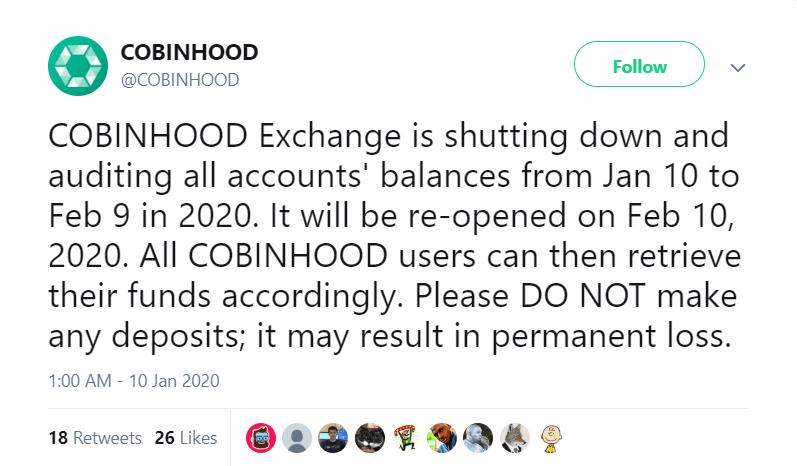 cobinhood shutting down